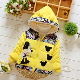 Wholesale Winter Mouse Pad - Baby & Kids Clothing Outwear cotton-padded clothes coat Girls winter Hooded long sleeve Minnie mouse Thick Parkas jacket Lolita Style 896061