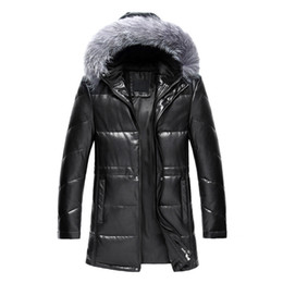 Wholesale Fox Fur Leather Jacket Men - Fall-2016 New Winter Thick Warm Solid Men Withe Duck Down Coat High Quality PU Leather Jacket Parka With Real Fox Fur Hood