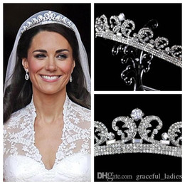 Wholesale Princess Pageant Crowns - Kate Middleton Tiaras & Hair Accessories Crystal Rhinestone Crowns Bridal Wedding Accessories Crystal Princess Tiaras 2015 Pageant Crown
