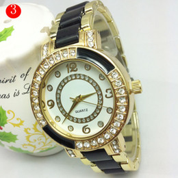 Ginebra ceramica relojes mujeres online-Luxury Created Diamante Geneva Brand Watches Relojes de cerámica blanco femenino Diamante reloj casual barrena mujeres reloj con 10 colores