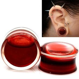 Wholesale 1Pair Blood Red Liquid Filled Globe Acrylic Ear Plugs Flesh Tunnels mm