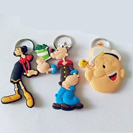 Wholesale Double Men Toys - Popeye the Sailor Olive Oyl PVC cosplay Keychain spinach double Keyring Costume Props Collectible Llavero Chaveiro toy wholesale 2017 retail
