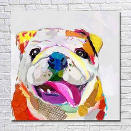 Wholesale Dog Frames - Bull dog picture no wooden frame modern pop art dog image for wall decor abstract colored modern dog painting