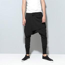 Wholesale Mens Harem Crotch Pants - Wholesale-Mens Joggers Cargo Men Low Crotch Pants Trousers Sweatpants Harem Pants Men Cross Pants Men Pantalones Hombre A1