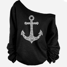 Wholesale Anchor Sweatshirt Women - Wholesale- Autumn, Winter One Piece Female Pullovers Anchor Printed Women Sweatshirts Long-Sleeved Pullovers Hoodies Plus Size KH855600