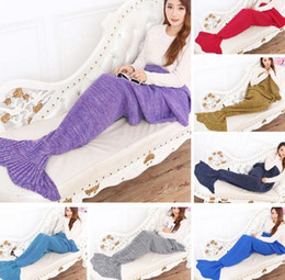 Wholesale Autumn Threads - Mermaid Tail Blanket Super Soft Warmer Blanket Crocheted Sofa Blanket ADULT 195*95cm Air-condition Blanket Autumn Winter 7 color