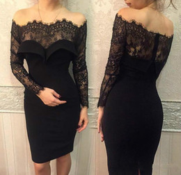 Wholesale Short Club Lace Cocktail Dress - Black Short Sheath Dresses with Lace Sheer Illusion Long Sleeves 2016 Cocktail Off the Shoulder Knee-length Occasion Gowns Party