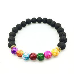 Wholesale Colorful Stone Bracelets - Hot selling Unisex chakra energy bracelets natural lava stone bracelets 8mm colorful beads bracelets free shipping