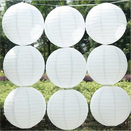 Wholesale Round Paper Lantern Lamps - 10pcs lot 16 inch(40cm) Chinese Round White Paper Lanterns lamps for Wedding Party Home Decoration oliday party supplies