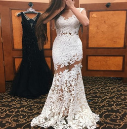 Wholesale Lace Bodice Special Occasion Dresses - 2017 Little White Mermaid Prom Dresses Sheer Neckline Sexy Illusion Bodice Lace Appliqued Long Evening Gowns Special Occasion Gowns BA3565