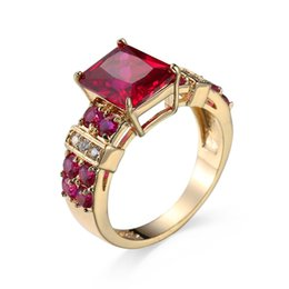Wholesale Red Corundum - hand decorated ladies gold-plated red corundum zircon ring foreign trade jewelry custom rings