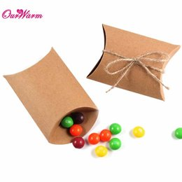 Wholesale Wholesale Brown Gift Boxes - 50Pieces lot wedding gift box New Style Kraft Pillow Shape Wedding Favor Gift Box Party Candy Box Wholesales