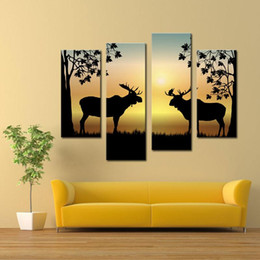 Wholesale Wall Hanging Decoration Piece - 4 Pieces Wall Art Painting Deer Picture Canvas Print Animal Painting Wall Art for Living Room Home Decoration Unframed Ready to Hang