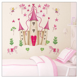 Wholesale Princess Room Decor - 100pcs Pink decor Princess Castle girls room decals Kids room nursery wall sticker DF5083 home decals baby room home decoration
