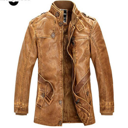 khaki motorcycle jacket Promo Codes - Leather Jackets Men Winter Warm Coat Motorcycle Leather Jacket Men's long section of Retro PU Leather Coat chaqueta cuero hombre