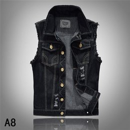 Wholesale Ripped Vest Top - Denim Vest Mens Jackets Sleeveless Fashion Washed Jeans Waistcoat Mens Tank Top Cowboy Male Ripped Jacket Plus Size S-6XL