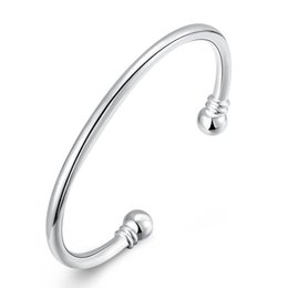Wholesale Silver 925 Sample - Sample Plated Cuff Bracelet 925 Jewelry Silver Plated Bangle Silver Fashion Jewelry Double Ball Open Bangle Bracelet Unisex Men's Jewelry