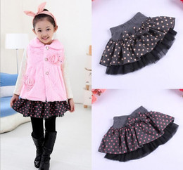 Wholesale Dot Cake Skirt - (4 piece lot) Big dot New Beautiful Cute baby Girl bow A-Line woolen Skirt baby tutu cake skirt Free Shipping