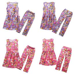Wholesale Clothes Shopping Cartoon - Fast Ship Shop Fruits Family Girls Suits Shop World Cartoon Clothing Set Girls Sleeveless Dress+Leggings Outfits Set Kids Clothes