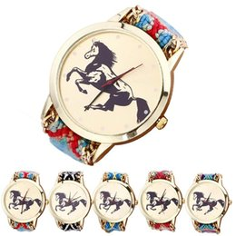 Wholesale Horse Watches Digital - Black Horse on Round Dial Woman Bracelets Watches for Women Lady Dress Quartz Wristwatches Multi-color Weaving Rope Style as Watch Band