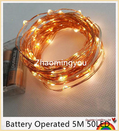 Wholesale Wedding Cards Wire - AA Battery Operated 33FT 5M 50 led Christmas Holiday Wedding Party Decoration Festi LED Copper Wire String Fairy Lights Lamps