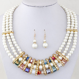 Wholesale Gold Layer Earrings - Fashion Pearl Jewelry Sets 18K Gold Plated Wedding Jewelry Set Mulit layer Bridal Crystal Necklace Set Earrings For Women Bijoux