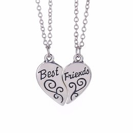 Wholesale Real Factory Outlet - 2016 New Retro Best Friends Necklace Antique Silver-plated Heart-shaped Friendship Necklace Real Love Necklaces & Pendants Factory Outlets