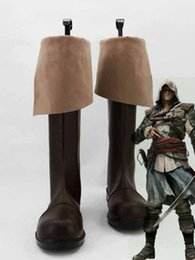 2020 botas cosplay personalizadas Atacado-Freeshipping Assassins C reed 4: Black Flag Connor Kenway Cosplay Botas sapatos # 5781 feitos à mão feitos para o Natal do Dia Das Bruxas botas cosplay personalizadas barato