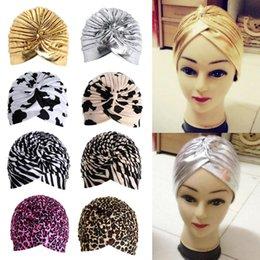 Wholesale Wholesale Chemo Hats - Stretchy Turban Head Wrap Band Sleep Hat Chemo Bandana Hijab Pleated Indian Cap Knit Headband Beanie Crochet Women Hat Cap W1