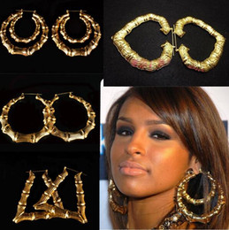 Wholesale Big Gold Bamboo Earrings - 2016 50Pairs Hiphop Big Gold Tone Bamboo Basketball Wives Stud Earring Dangle Hoop Circle earrings 6 styles