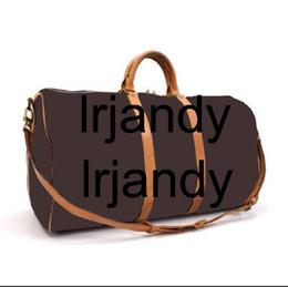Wholesale Branded Gym Bags - KEEPALL BANDOULIÈRE 45-55CM REGATTA KEEPALL VOYAGER Genuine Leather mens travel bag weekend duffle bag luxury brand Carry On GYM bag handba
