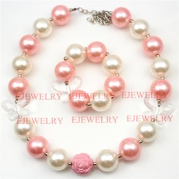 Wholesale Kids Pearl Bracelets Flower - fashion jewelry white acrylic butterfly pink&white pearl beads pink rose flower beads chunky girl bubblegum kids Necklace&bracelet set