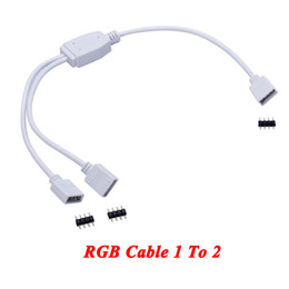 Wholesale rgb led connector 4pin 3528 - 4pin RGB led connector 1 to 2 port 4pin White Mini RGB connect wire for 3528 5050 SMD RGB strip