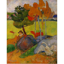 2019 pintura de paisaje popular arte moderno popular niño bretón en un paisaje de Paul Gauguin pintura al óleo reproducción de alta calidad pintada a mano pintura de paisaje popular baratos