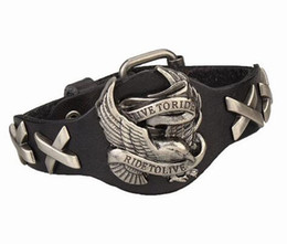 Wholesale Leather Punk Bracelet - Cool Men Women Punk Harley Rider Genuine Leather Wrap Bracelet Live To Ride Fashion Multicolor Eagle Charm Bracelet Wristband HJIA972