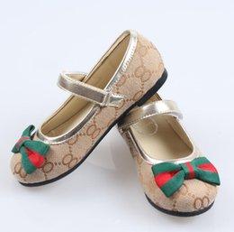 Wholesale Cute Shoe Bow Ribbons - 2017 autumn new girl princess shoes flower lattice ribbon bow tie cute magic stickers single shoes leather children's shoes