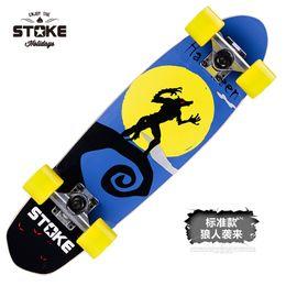 "Wholesale Wooden Skates - 26"" Maple Fish Plate Skateboard Fashional Wooden Skate Board Speed Cruiser Cool Four Wheels Street Longboard"