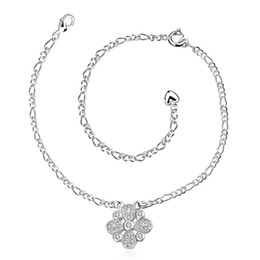 Wholesale Girls Lace Anklets - Snowflakes pendants Styles Charms 925 pure Silver anklets A025 feet foot wear Fashion Trendy Nice Summer Wearing Jewelry Brand