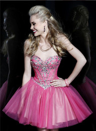 Wholesale Quinceanera Ladies Ball Gowns - Sexy Lady Over Short Strapless Backless Dimond Decoration Birthday Party Ball Gown Evening Dress Special Occasion Dress