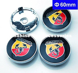 Wholesale Italy Car - 4pcs 60mm Car Emblem Badge Wheel Hub Caps Centre Cover ABARTH Racing Italy For FIAT 124 125 125 500 695 OT2000 Coupe