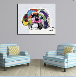 Wholesale Framed Art Ideas - Shih Tzu house paint and wall painting for home decor idea oil painting art print on canvas No Framed picture