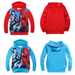 Wholesale Batman Tops - 2016 Kids Boys hoodies Hero Batman Spider man print Hoody Long Sleeve cotton boy Hooded cartoon Coat Tops Sweatshirt factory price wholesale
