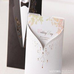 Wholesale Letter Style Wedding Invitation - new Fashion Wedding Invitations Black Suits style Golden Embroidery White letters Handwritting Words Invitation Cards for Party CW2011
