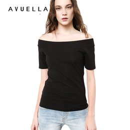 Wholesale Womens Black Tee - AVUELLA 2017 Womens Clothing Summer Women T Shirt Short Sleeve Slash Neck Cotton Solid Color Tops Tees Female Ladies T-Shirt for women