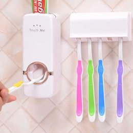 Wholesale toothpaste wholesalers - Automatic Toothpaste Dispenser Toothbrush Holders Sets Squeezer Creation Lazy Auto Plastic Bathroom Accessories White And Red ZJ-H11