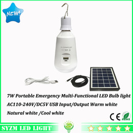 Wholesale Cell Phone Bulbs - E27 7W 110V 120V Multi-Functional led bulbs with solar energy panel Led globels for emergency lights DC5V 2600ma battery for cell phone