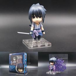 Wholesale Naruto Sasuke Figures - Nendoroid Q Ver. Naruto heros come back Uchiha Sasuke anime action figure 707# cute collection 10cm cartoon doll with box T7531