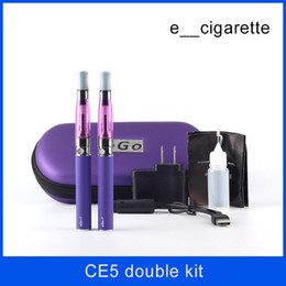 Wholesale Double Egos Ce5 - ego CE5 double kit 2 Electronic Cigarette kits CE5 Atomizer 650mah 900mah 1100mah 2 e Cigarette in Zipper carrying Case DHL Free Shipping