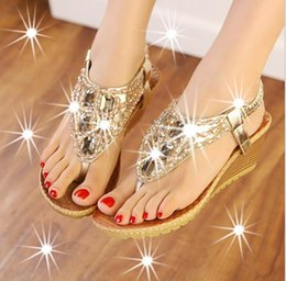 Wholesale Cool Dresses For Women - hot style 2016 new diamond-encrusted beaded summer cool slippers Ms wedge sandals Female sand beach shoes for women's shoes