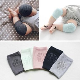 Wholesale Infant Knee Pads Crawling - Baby combed cotton soft Kneecap Girls Boys Crawling Safety Protector with glue Toddler Knee Pads Infant Leg Warmer 4colors